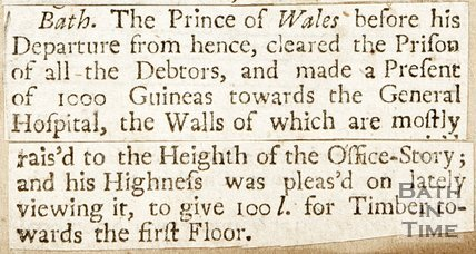 Newspaper article detailing the Prince of Wales visit to Bath, 1738.