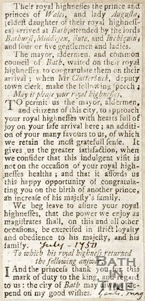 Newspaper article announcing the arrival of the Prince and Princess of Wales, 1750.
