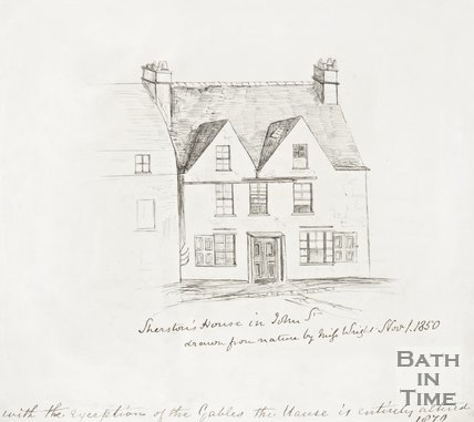 An ink drawing of Sherston House in John Street, Bath 1850.