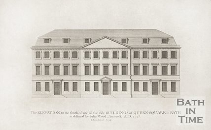 The Elevation to the South, of one of the Side Buildings of Queen Square in Bath 1749