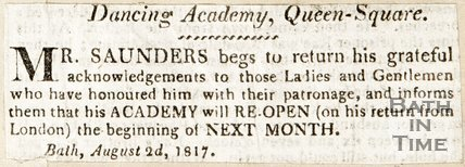 Newspaper article concerning a dance academy, Queen Square, 1817.
