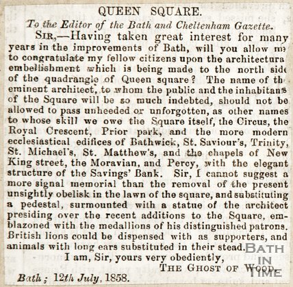 Newspaper article. Queens Square, 1858.