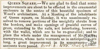 Newspaper article announcing improvements at the centre of Queen Square, 1850