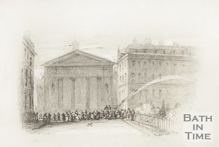 A pencil sketch of St Marys Chapel, Queen Square.