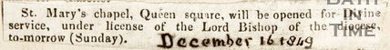 Newspaper article concerning St. Marys Chapel, Queen Square, 1849