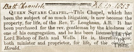 Newspaper article concerning St. Marys Chapel, Queen Square, 1853.