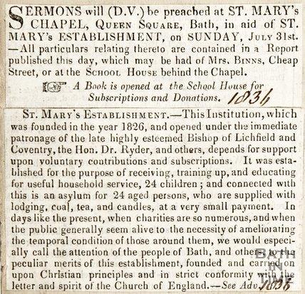 Newspaper article concerning St. Marys Chapel establishment 1836.