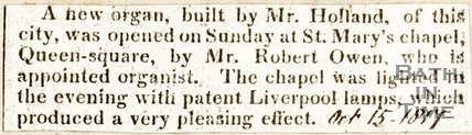 Newspaper article announcing the unveiling of the new organ in St. Marys Chapel, Queen Square, 1817.