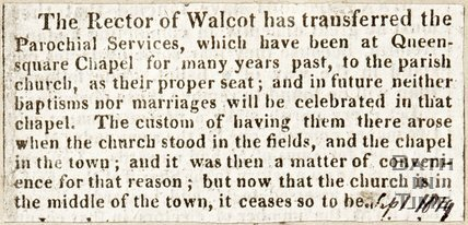 Newspaper article announcing the Rector Walcot had transferred from Queen Square Chapel to the Parish Church, 1819