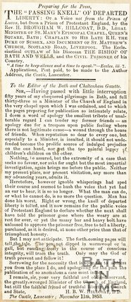 Newspaper article concerning H.B. Hilcot, 1853.