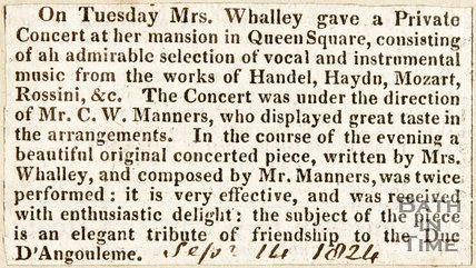Newspaper article describing a private concert of Mrs Whalley, who lived in Queen Square, 1824.