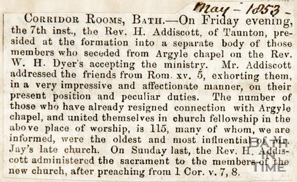 Newspaper article describing loss of congregation from the Argyle Chapel, 1853.