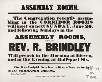 Poster announcing a meeting at the Assembly Rooms by Rev. R. Brindley, 1853.