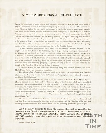 A pamphlet for the New Congregational Chapel Bath, 1854.