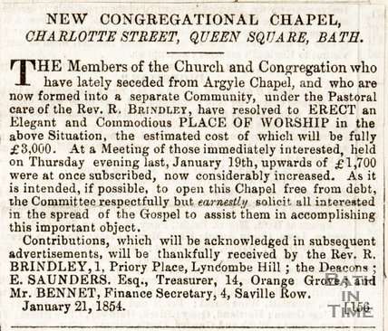 Newspaper article entitled New Congregational Church, Charlotte Street, Bath 1854