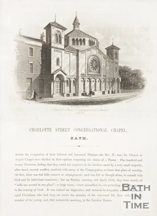 A pamphlet about Percy Chapel, Charlotte Street including engraving, 1854.