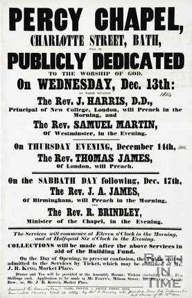 A poster for the Percy Chapel, Charlotte Street, 1854.