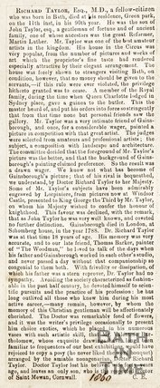 Newspaper article containing the biography of Richard Taylor, 1860.