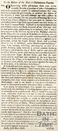 Newspaper article concerning proposed building on the Upper Bristol Road, 1815.