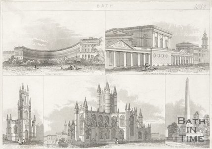 A collection of images including the Royal Crescent, Kings Bath and Pump Room, St Stephens Church , Bath Abbey and Victoria Park obelisk, 1850