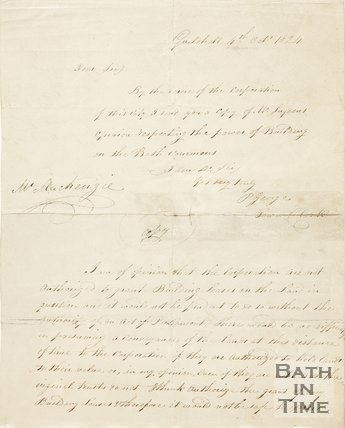 A letter to Mr Mackenzie from Edward Sugdon copied out by Page George (town clerk) concerning building on the Bath Commons, 1834