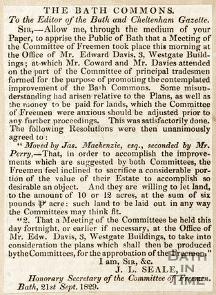 Newspaper article detailing the meeting of the Committee of freemen concerning the development of the Bath Commons, 1829.