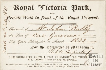 A subscription ticket to the Royal Victoria Park, 1831.