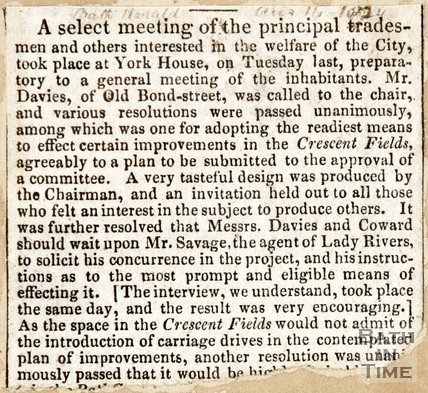 Newspaper article concerning a meeting of the Principle Tradesmen to decide on the improvements on the Crescent Fields, 1829.