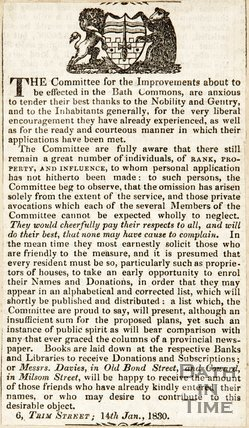 Newspaper article asking for subscriptions to fund the improvements to the Bath Commons, 1830.