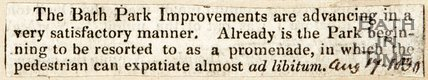 Newspaper article concerning Bath City Improvements, 1830