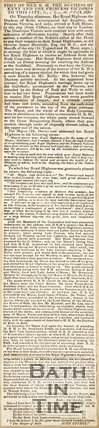 Newspaper article detailing the visit of Her Royal Highness the Duchess of Kent and Princess Victoria to the city, Oct 26, 1830