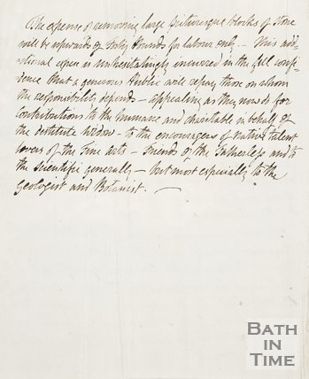 Back of handwritten note on Mr Barker's design for the Bath Park.