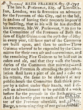 Newspaper article concerning the 'Bath Freemen' 1792