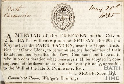 Newspaper article announcing a meeting of the Freemen of Bath, 1835