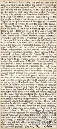 Newspaper article concerning the plans to build a pond in Victoria Park, 1860.