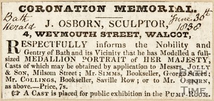 Newspaper article concerning coronation memorial for Queen Victoria, 1838.