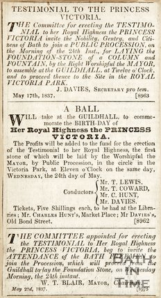 Newspaper article entitled 'Testimonial to the Princess Victoria' 1837.
