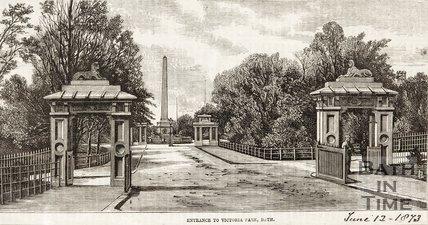 Entrance to Victoria Park, Bath, 1873.