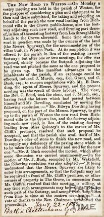 New Road to Weston, 1862.