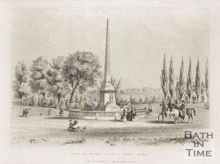 View in Royal Victoria Park featuring the obelisk, Bath c.1840