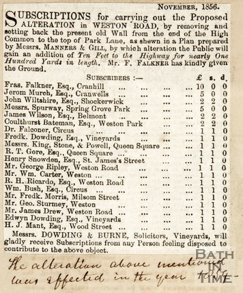 Concerning subscriptions for the alteration on Weston Road, 1856.
