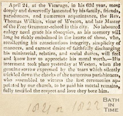 Newspaper article. Obituary of Rev. Thomas Wilkins, Vicar of Weston.