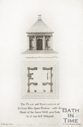 Plan of elevation of lime kiln spaw portico.