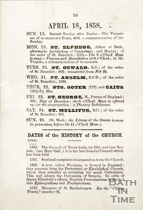 List of Weston Church services, 1858.