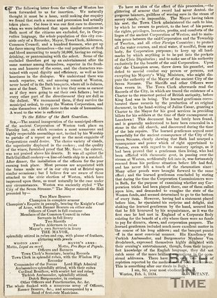 Newspaper article concerning annual inauguration of the municipal officers of the ancient corporation of Weston, 1834.