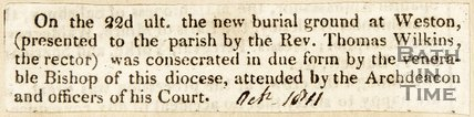 Consecration of new burial ground at Weston, 1811.