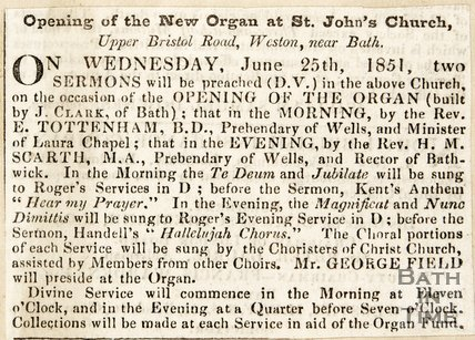 Opening of the new organ at St. John's church Weston, 1851.