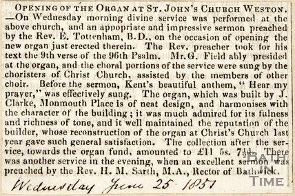 Opening of the new organ at St. John's church Weston, 1851.