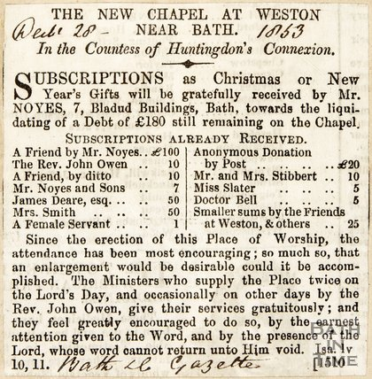 New Chapel at Weston Subscriptions, 1853.