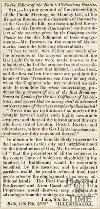 Concerning the gas light bill, 1816.